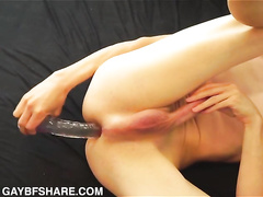 Huge transparent anal toy helps the twink out