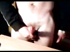 Teen dude is standing by the webcam with erected cock