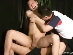 Twink is pleased by two gay ass licker boyfriends