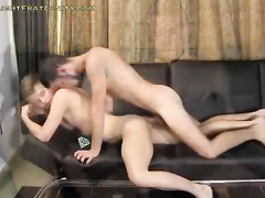Watching gay video and starting bareback fuck