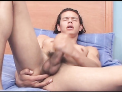 The guy with huge dick is fingering his ass