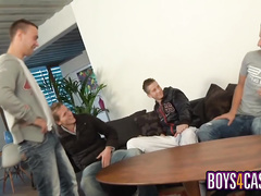 Three gay boys suck each other's cock at once