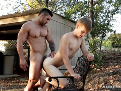 Gay convulses from rough anal fuck outdoor