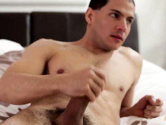 Gay guy masturbates and probes his naughty friend