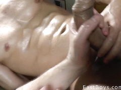 Twink undresses and excitingly fondles his body in shower