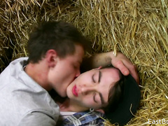 Sweet teen twinks are hotly kissing and fondling on hayloft