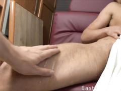 Naughty twink sucks boyfriend's fingers before pleasuring handjob