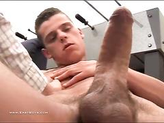 Huge dicked gay is pleasuring handjob from gay friend