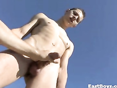 Twink with camera is filming on camera young gay guy and seducing him