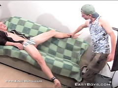 Skinny twink is excitingly fondling and kissing his boyfriend