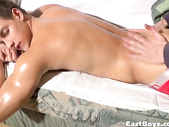 Cute twink gets undressed and relaxed with massage