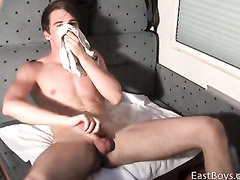 Nasty young twink is jerking off and smelling panties
