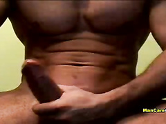 Tight muscled twink is showing off his strong chest and pretty big tight dick