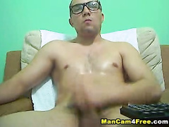 Wonderful young gay dude cums on his stomach