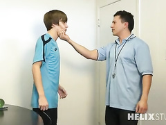 Handsome high school coach enjoys fucking teen gay student