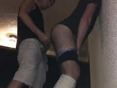 Naughty twink pushes his room mate to the wall and fucks his ass