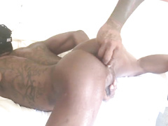 Black fagots with hot tattoos are having passionate hardcore gay anal fuck