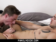 Dirty dad and stepson are having hot gay threesome fuck with cousin