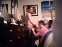 Twink sets the hidden cam and makes his stright boyfriend to blowjob his dick