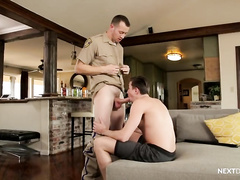 Fuck hungry hunk sheriff is punishing stepson with rough gay hardcore fuck