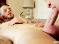 Skinny gay with hot tattoos enjoys blowjob and gets fucked in the asshole hard